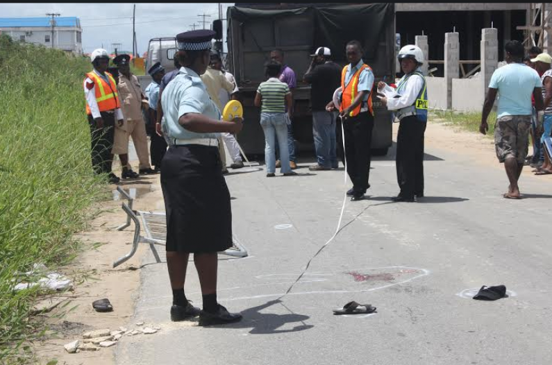 Police officer crushed to death by sand truck at Providence as he placed barriers on the road