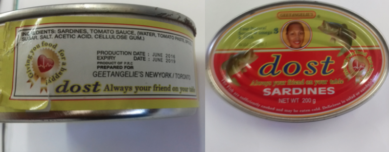 1700 cases of sardine from China refused entry for incorrect labelling date