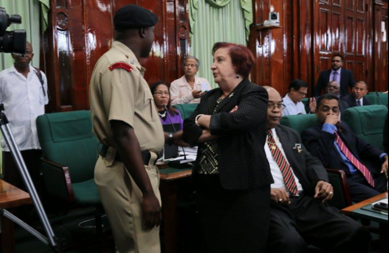 """BREAKING:  Police called in as """"out of order"""" Edghill refuses to leave Parliamentary Chambers on Speaker's orders"""