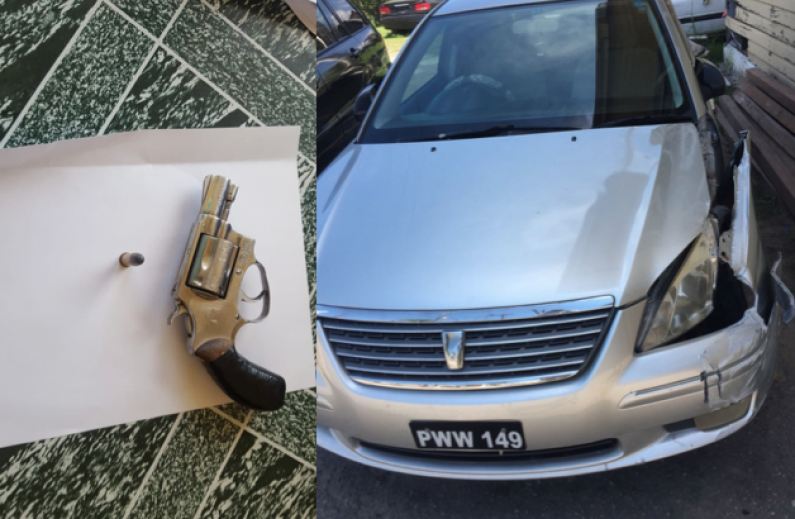 Police recover illegal gun and ammunition as suspicious driver crashes into pole