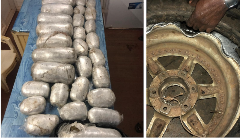 62 pounds of Marijuana found stashed in Mahdia bus spare wheels; Three in custody