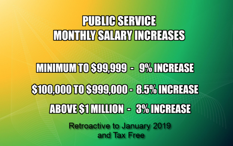 BREAKING:  Public servants to get salary increase ranging from 3% to 9%