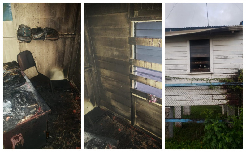 Section of CID Office at Anna Regina Police Station damaged by Fire