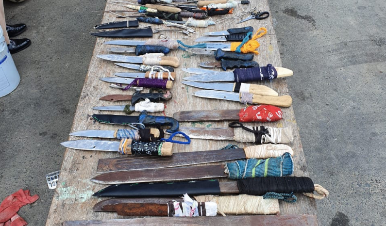 Prisoner dies after being stabbed and chopped at Lusignan jail; Over 100 weapons seized in search