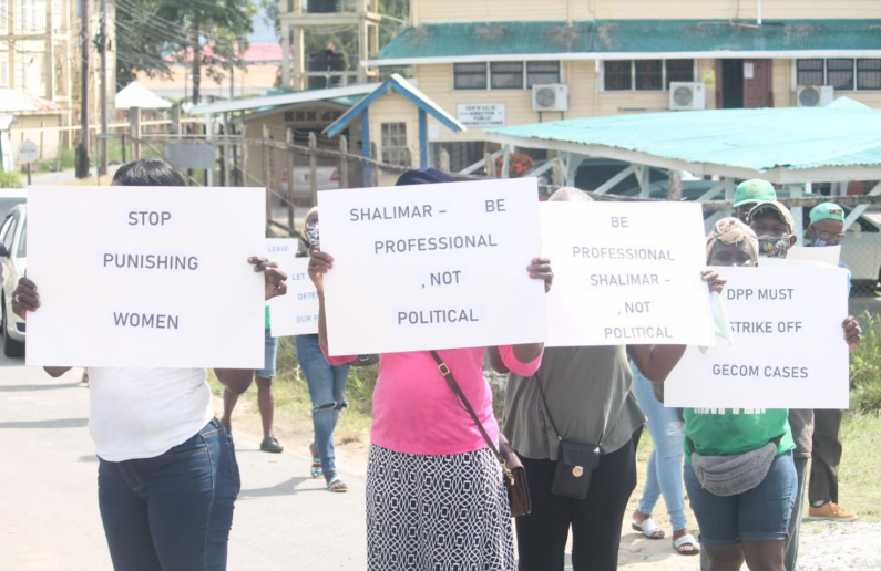 Supporters of Volda Lawrence picket DPP's Chambers over charges