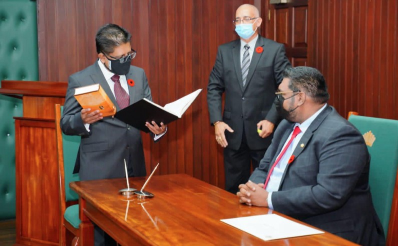 Ashni Singh sworn in as Minister with responsibility for Finance under OP