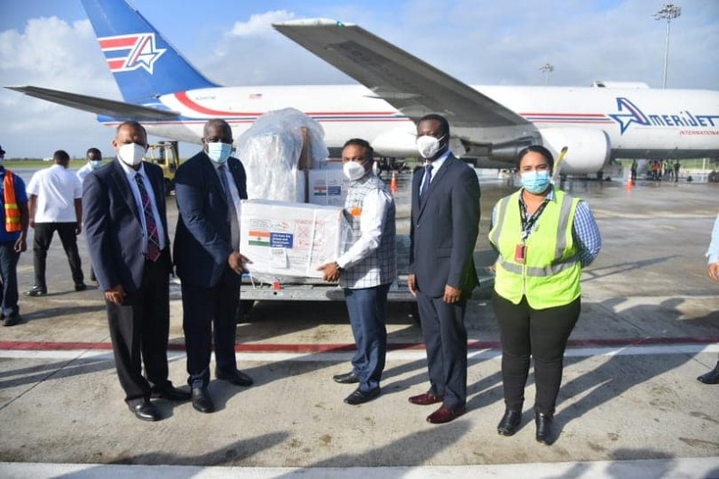 Guyana receives gift of 80,000 COVID-19 vaccines from India