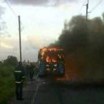 Students and teachers escape as school bus burst into flames