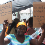 Brickdam Secondary parents and teachers protest Education Ministry's decision to close down school and effect transfers