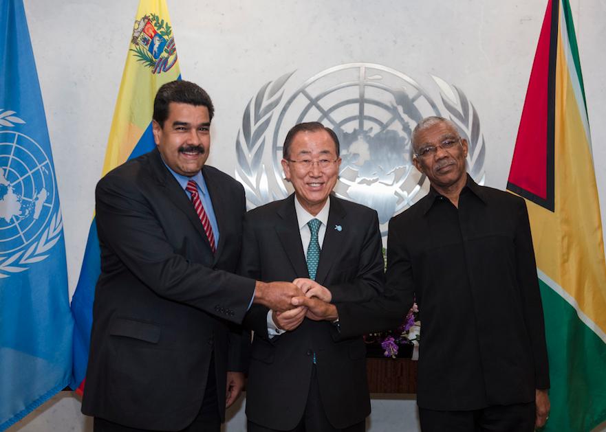 FLASHBACK:  President Granger and Venezuelan President Nicolas Maduro during their 2015 engagement with the UN Secretary General