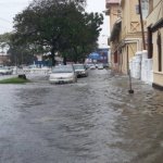 Sections of Georgetown and other parts of the coast under flood waters following hours of rainfall