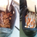 Marijuana and cigarettes found in shoes being delivered for prisoner at Lusignan